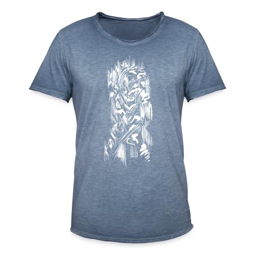 Samurai / White - Abstract Tatoo - Men's Vintage T-Shirt