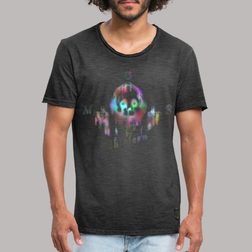 MB13 - skull - rainbow - thirteen - Men's Vintage T-Shirt