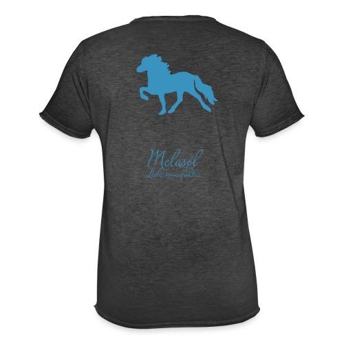 Großer Tölter & Melasól Schriftzug blau auf Rücken - Männer Vintage T-Shirt