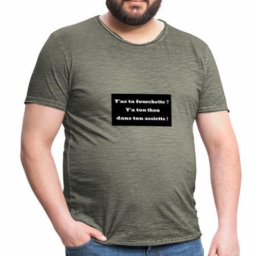 Tata Fourchette et Tonton dans ton assiette. - T-shirt vintage Homme