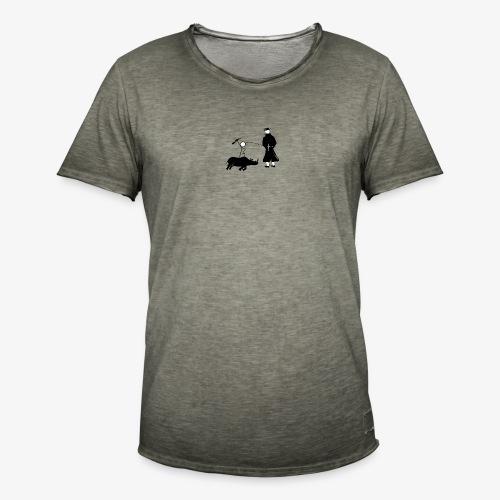 Pissing Man against hunting for endangered animals - Männer Vintage T-Shirt
