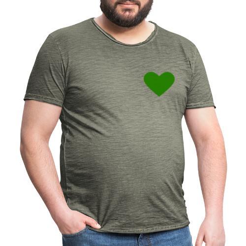 Grünes Herz / Grüne Liebe / Grüner Planet - Männer Vintage T-Shirt