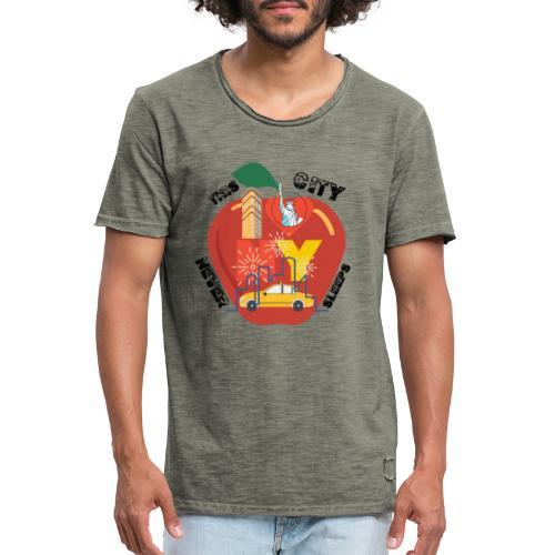 This City Never Sleeps - Vintage-T-shirt herr