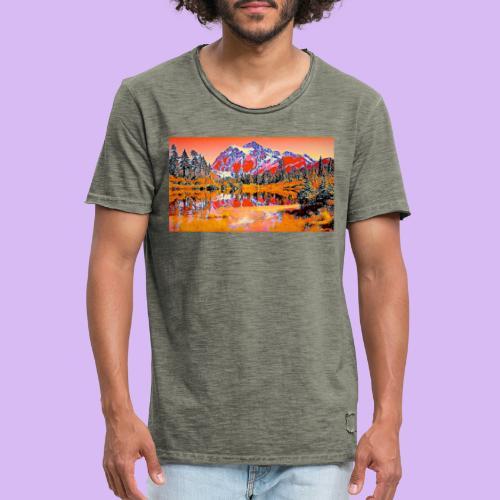Montagne rosse punteggiate - Maglietta vintage da uomo