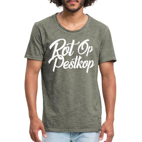 Rot Op Pestkop - Curly White - Mannen Vintage T-shirt