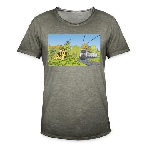 Raupe und Zug - Männer Vintage T-Shirt
