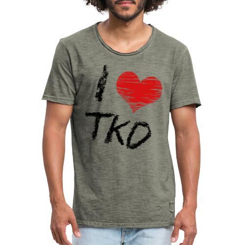 I love tkd letras negras - Camiseta vintage hombre