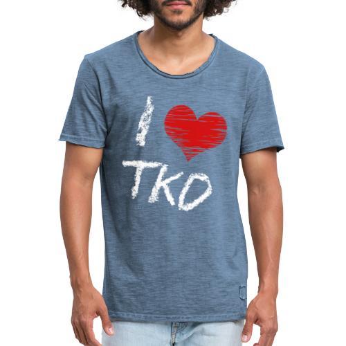 I love tkd letras blancas - Camiseta vintage hombre