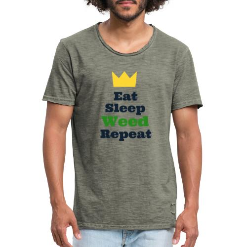 Eat Sleep Weed Repeat Tees by SeSQoOo - Men's Vintage T-Shirt
