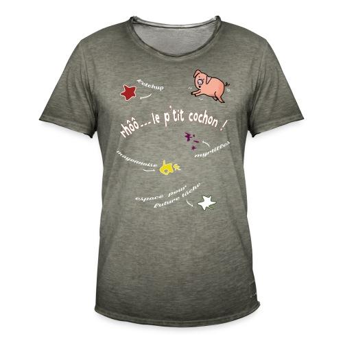 Rhoo le ptit cochon ! (version pour fond sombre) - T-shirt vintage Homme