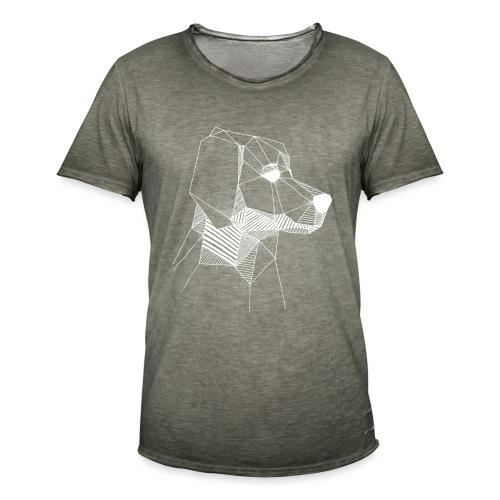 Golden Retriever Geometrisch Wit - Mannen Vintage T-shirt