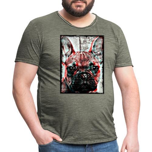 French Bulldog - Retro - Vintage-T-shirt herr