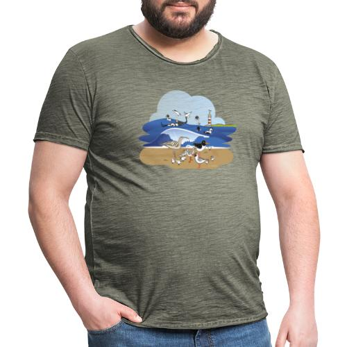 See... birds on the shore - Men's Vintage T-Shirt