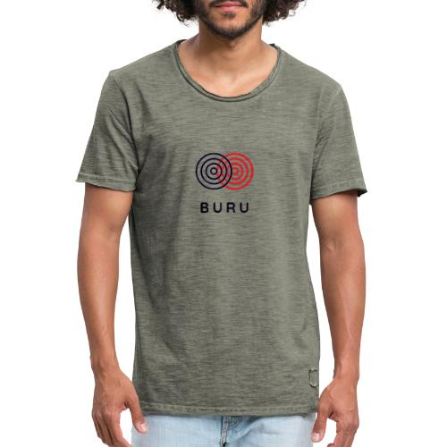 BURU negro rojo - Camiseta vintage hombre
