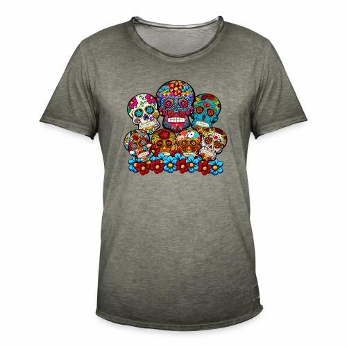 Grupo de calaveras - Camiseta vintage hombre