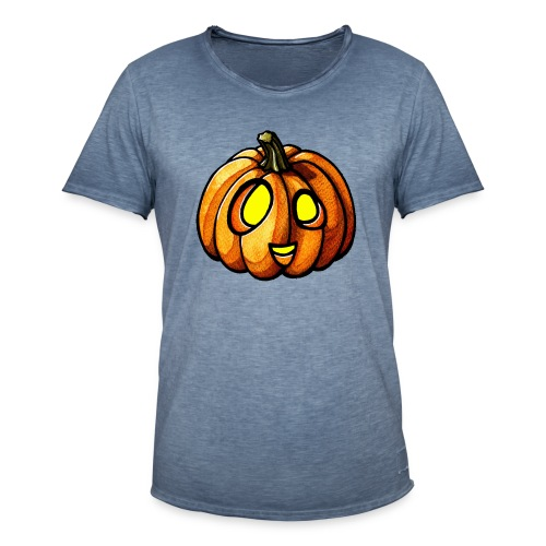 Pumpkin Halloween watercolor scribblesirii - Herre vintage T-shirt