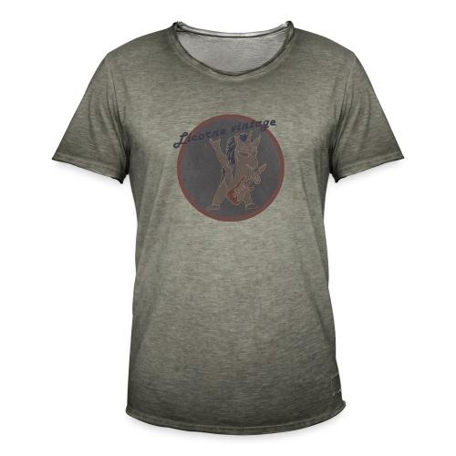 Licorne guitare metal Vintage fond gris - T-shirt vintage Homme