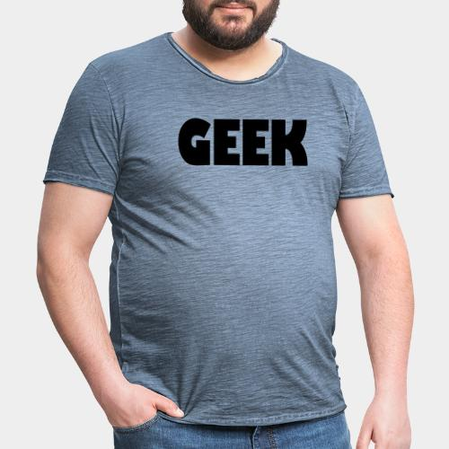GEEK Text Logo Black - Men's Vintage T-Shirt