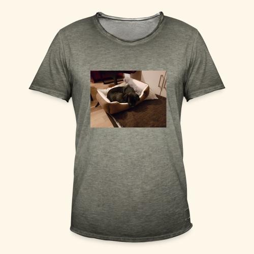 Hund im Hundekörbchen - Männer Vintage T-Shirt