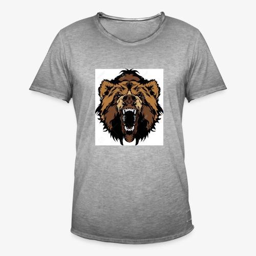 oso grizzly mascota cabeza vectorial - Camiseta vintage hombre
