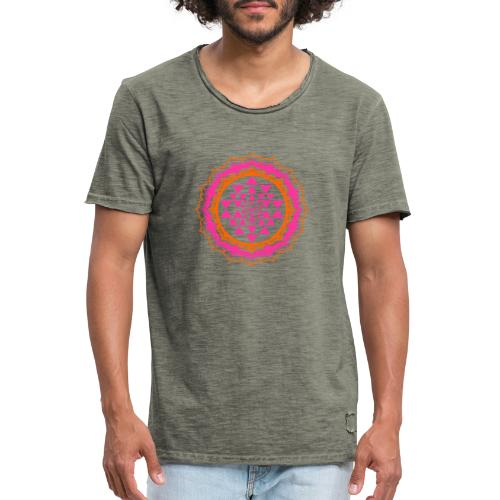 Sri Yantra - pink & orange - Herre vintage T-shirt