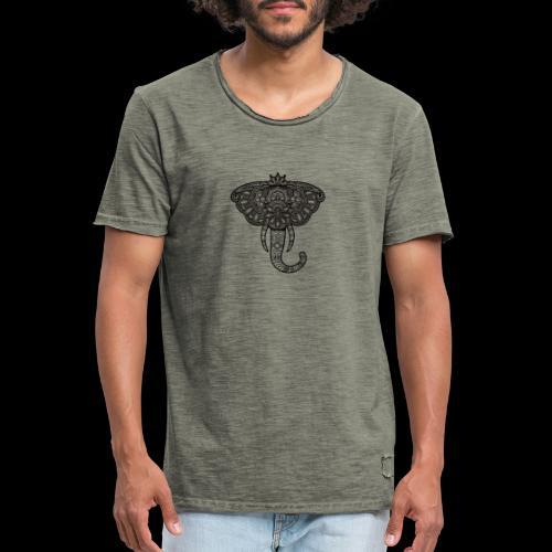 Henna Elephant black - Men's Vintage T-Shirt