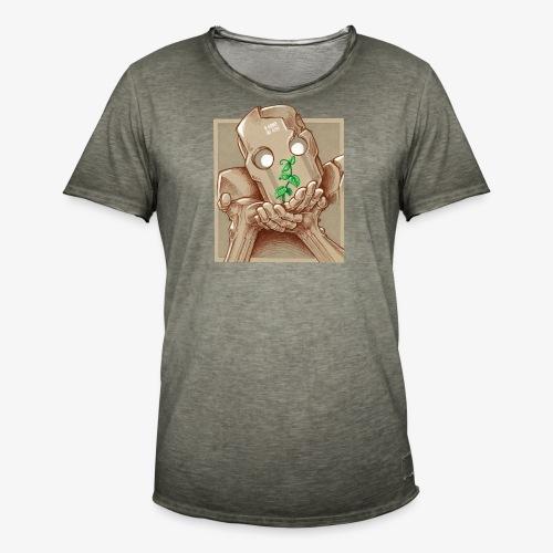 robot plant leaf leaves war - T-shirt vintage Homme