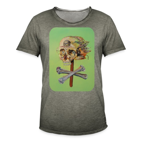 oil painting of skull and bones - Mannen Vintage T-shirt