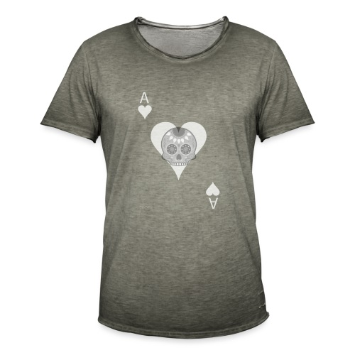 Ace of hearts -gray version- The Skulls Players - T-shirt vintage Homme