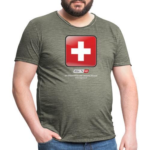 REGA-TV: Switzerland, weisse Schrift - Männer Vintage T-Shirt