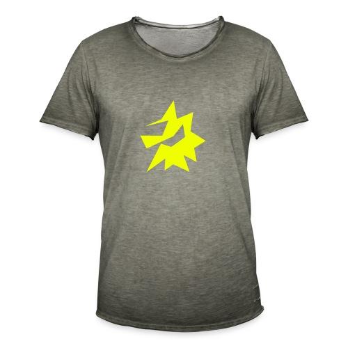 Gelbe Zeichnung / Pflegestufe Single - Männer Vintage T-Shirt