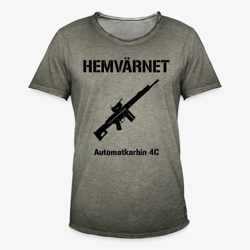 Hemvärnet - Automatkarbin 4C + SWE Flagga - Vintage-T-shirt herr