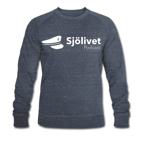 Sjölivet podcast - Vit logotyp - Ekologisk sweatshirt herr
