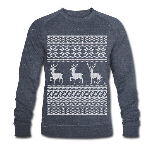 Ugly Christmas Sweater Rentier Muster (lustig) - Männer Bio-Sweatshirt