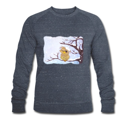 Kauz im Schnee - Männer Bio-Sweatshirt