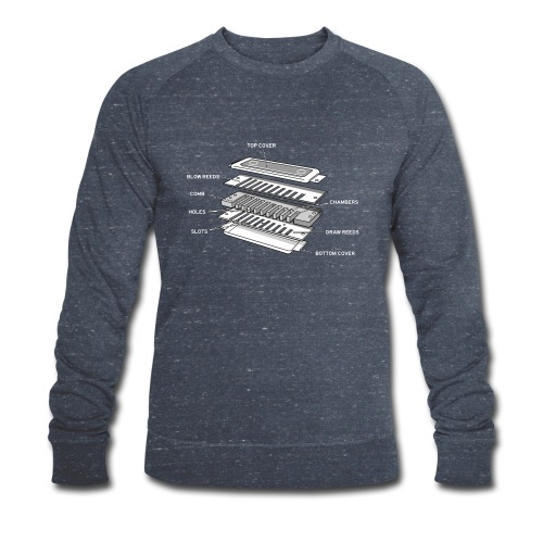 Exploded harmonica - white text - Men's Organic Sweatshirt
