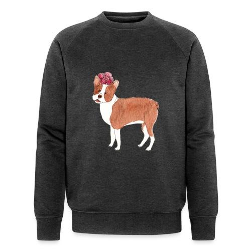 boston terrier with flower - Økologisk Stanley & Stella sweatshirt til herrer