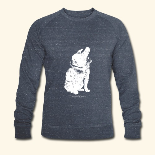 white vintage French Bulldog - Sweat-shirt bio Stanley & Stella Homme