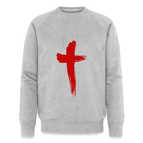 Kreuz rot - Männer Bio-Sweatshirt