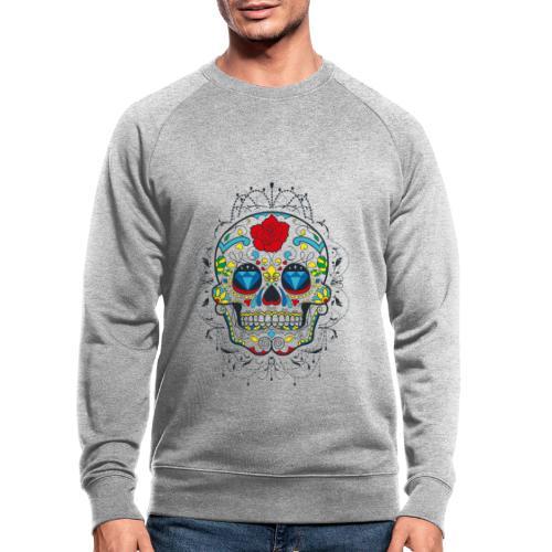 Rose und Diamantschädel - Männer Bio-Sweatshirt