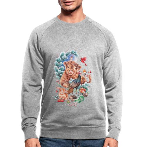 Vegan Christmas with cow and turkey. - Men's Organic Sweatshirt