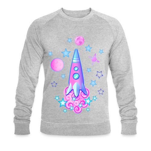 pink space rocket with stars and planets - Men's Organic Sweatshirt by Stanley & Stella