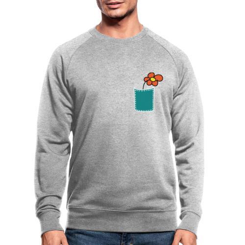 Brusttasche Blume - Männer Bio-Sweatshirt