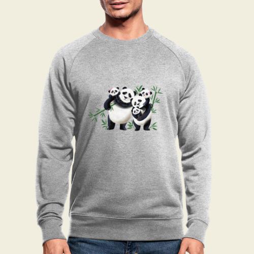Pandafamilie drei Kinder - Männer Bio-Sweatshirt