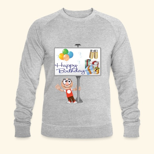 Happy Birthday Signpost with balloons - Men's Organic Sweatshirt by Stanley & Stella