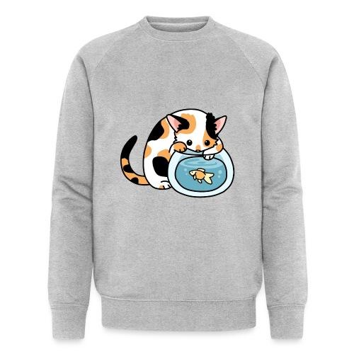 Katze mit Fisch im Glas - Männer Bio-Sweatshirt