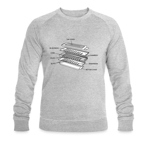 Exploded harmonica - black text - Men's Organic Sweatshirt by Stanley & Stella