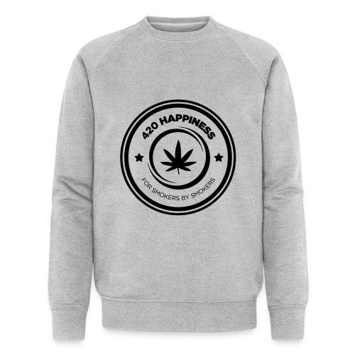 420_Happiness_logo - Økologisk sweatshirt til herrer