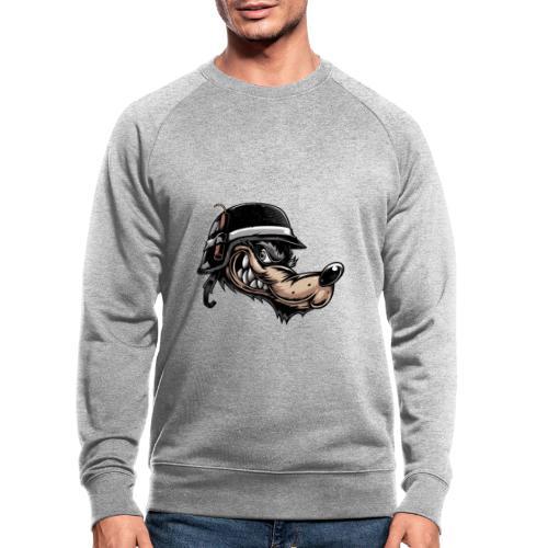 Wolf mit Helm - Männer Bio-Sweatshirt
