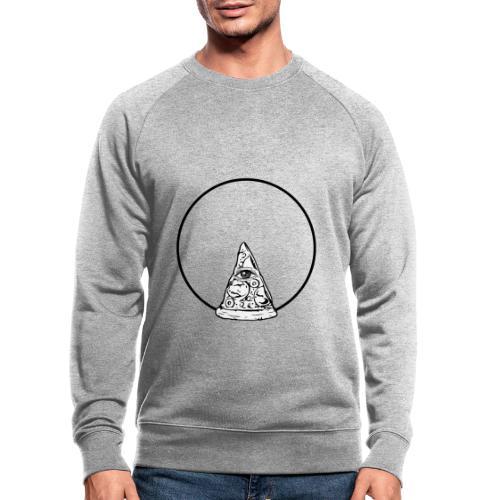 All sehendes Auge Pizza (schwarzer Druck) - Männer Bio-Sweatshirt